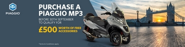 Buy a new Piaggio MP3 and get &pound500 worth of free accessories
