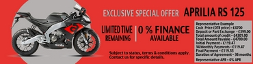Aprilia RS 125 cc 0% APR Finance offer