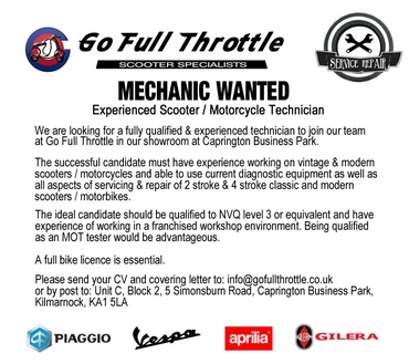 Scooter / Motorcycle Technician Wanted
