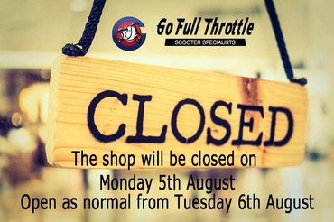 Shop Closed Monday 5th August
